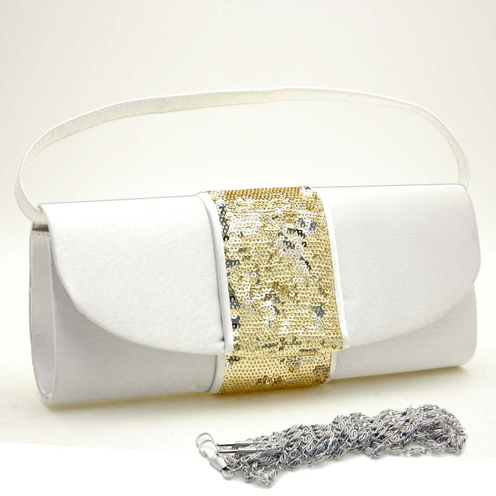 Sequins Accented Flap Clutch