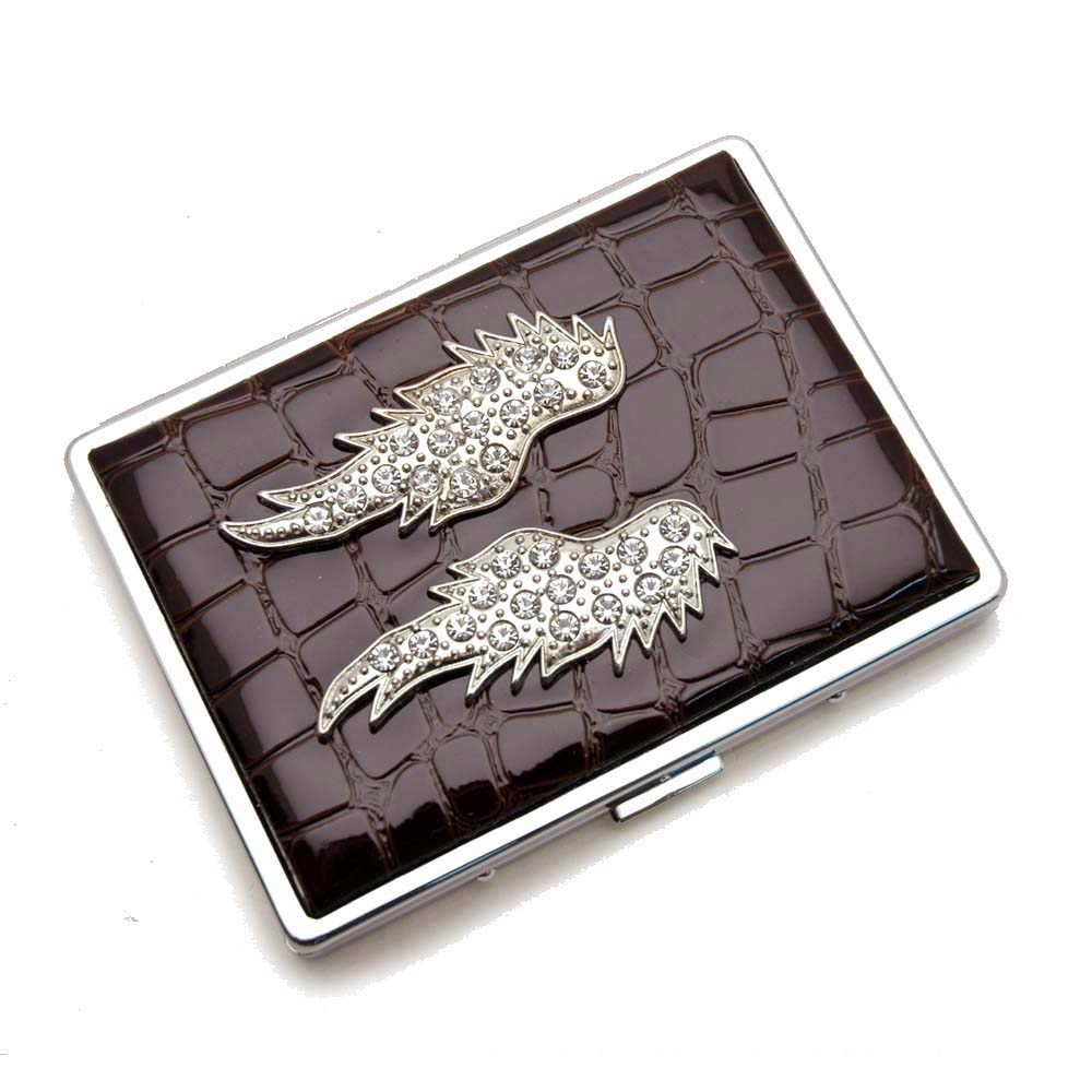 Croco embossed face, Wing accent card case