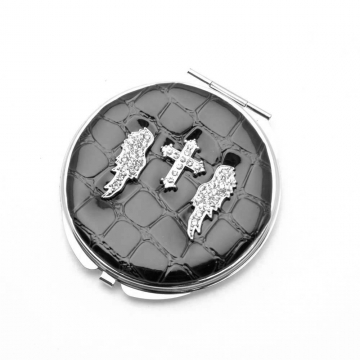 Dasein Rhinestone Wing Cross Design Compact Mirror-Black
