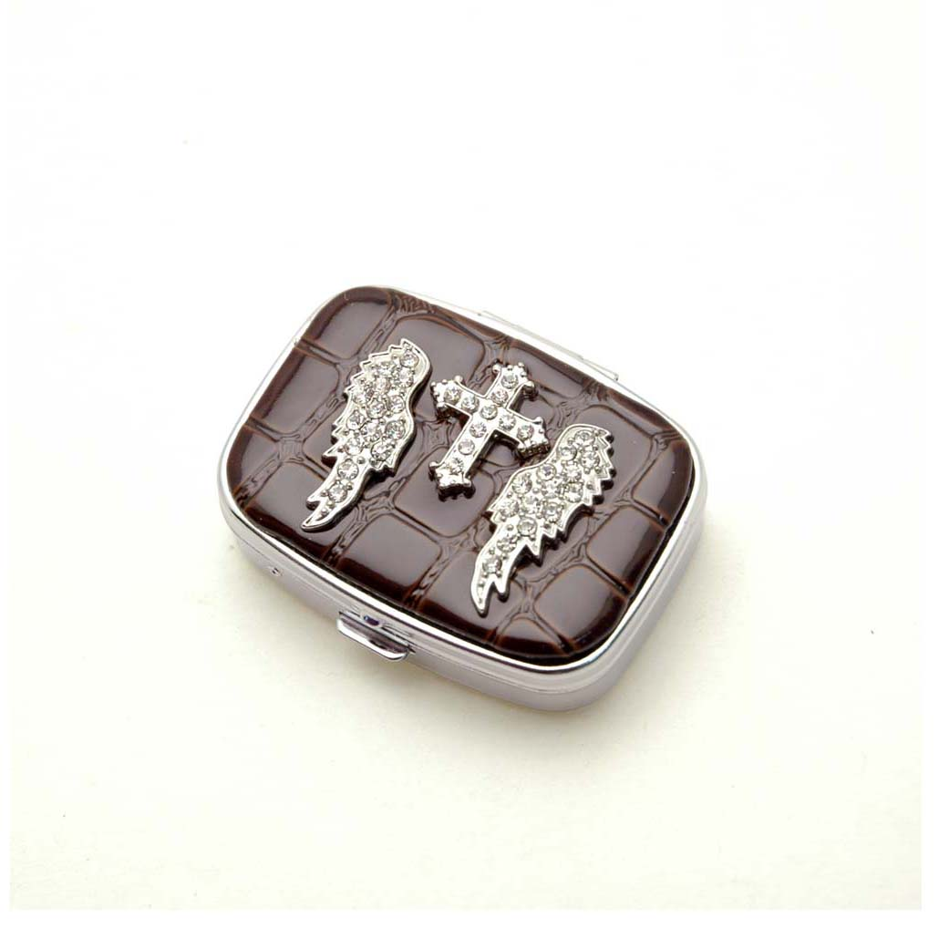Rhinestone wing cross accented pill box
