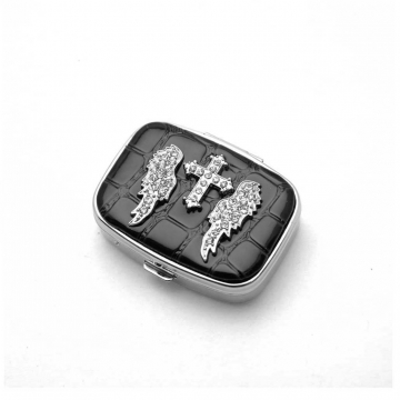 Rhinestone cross accented pill box