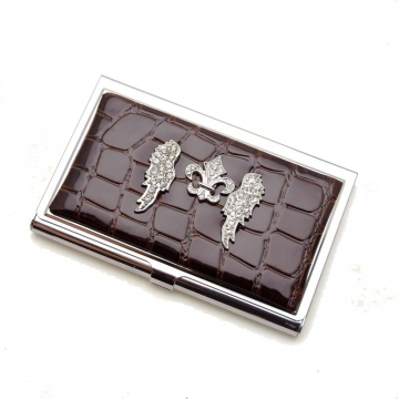 Croco embossed face, wing Fleur De Lis rhinestones card case