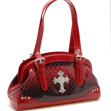 Dasein Snake Skin Embossed Shoulder Bag with Rhinestone Cross Accent-Red