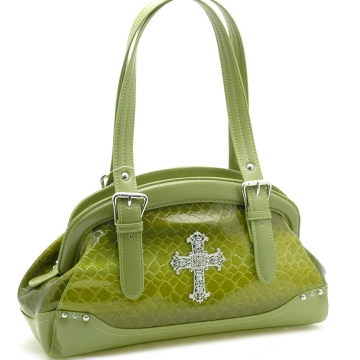 Dasein Snake Skin Embossed Shoulder Bag with Rhinestone Cross Accent-Green