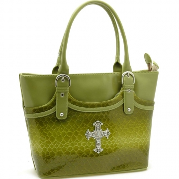Rhinestone cross accented snake skin embossed tote bag
