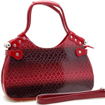 Dasein Stylish Snake Skin Embossed Shoulder Handbag-Red