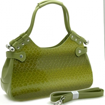 Dasein Stylish Snake Skin Embossed Shoulder Handbag-Green