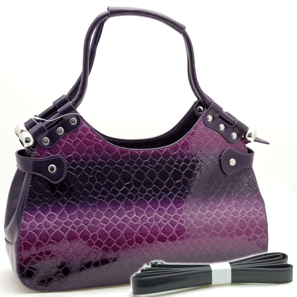 Dasein Stylish Snake Skin Embossed Shoulder Handbag-Purple