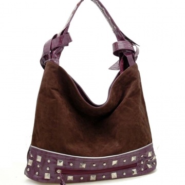 Dasein Studs Faux Suede Croco Embossed Trim Hobo Handbag-Brown / Purple