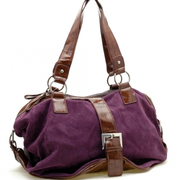 Dasein Buckle Accented Front Faux Suede Croco Embossed Trim Shoulder Bag-Purple / Brown Trim