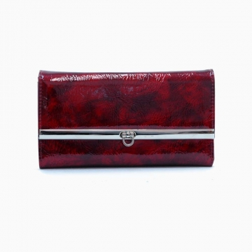 Daasein Fashion Fold Over Flap with Flip Clasp Checkbook Wallet-Red