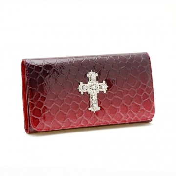 Dasein Fold Over Flap with Flip Clasp Checkbook Wallet-Red