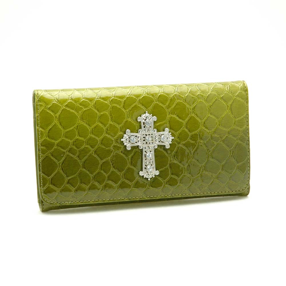 Patent Croco Embossed Checkbook Wallet with Rhinestoned Cross Accent