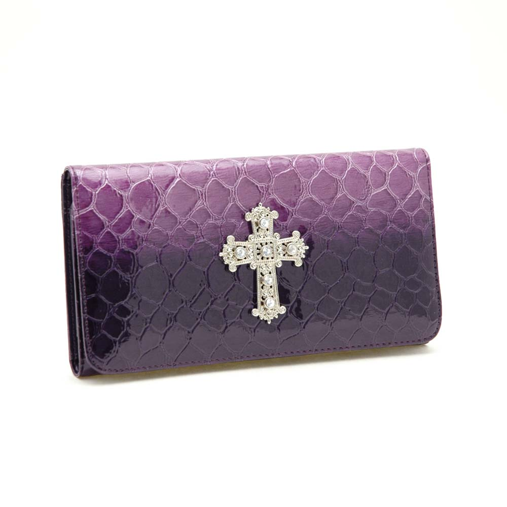 Purple Dasein Fold Over Flap with Flip Clasp Checkbook Wallet