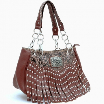 Buckle Studded Fringe Accented Shoulder Bag