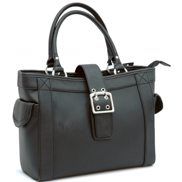 Dasein Designer Inspired Shoulder Bag with Chic Buckle Accent-Black