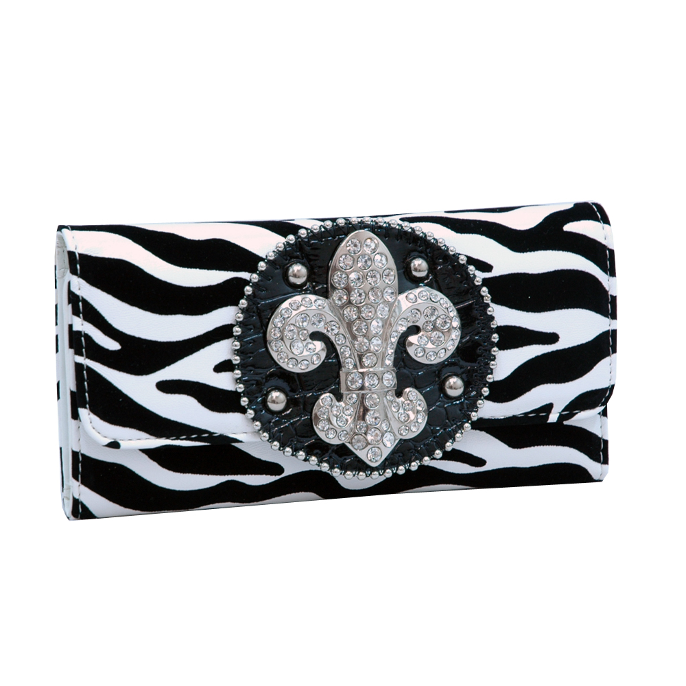 Ustyle Rhinestone Fleur De Lis Sign Checkbook Wallet- Black/White