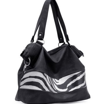 Zebra Print Front Tote Bag for women Black