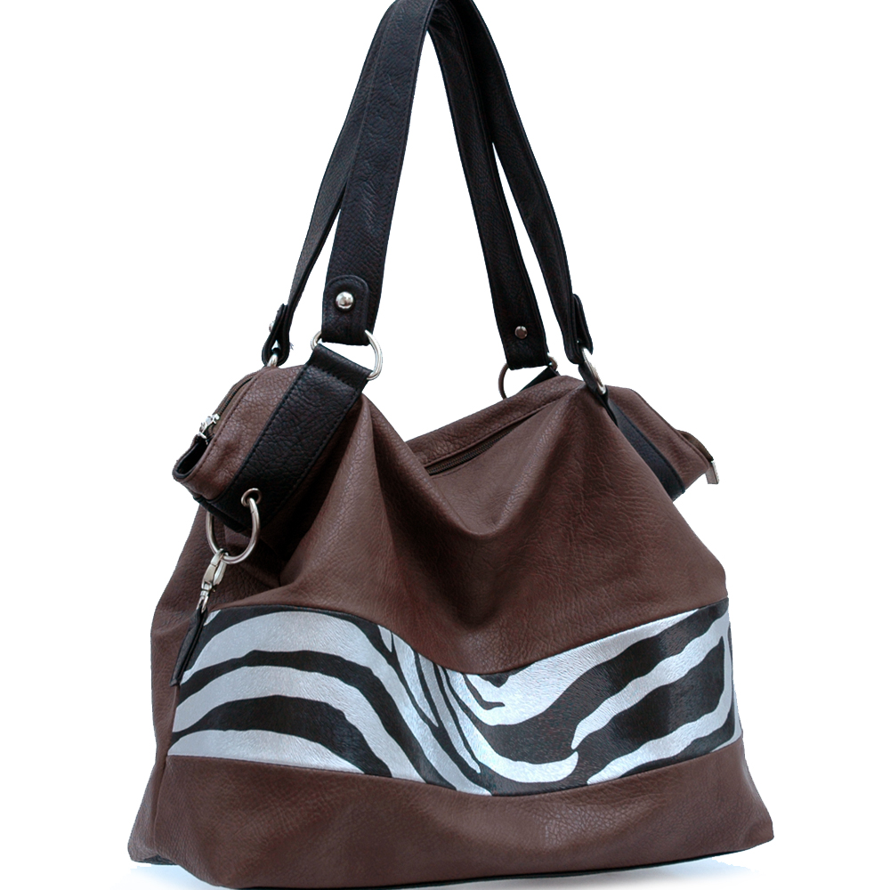 Zebra Print Front Tote Bag - Coffee Brown