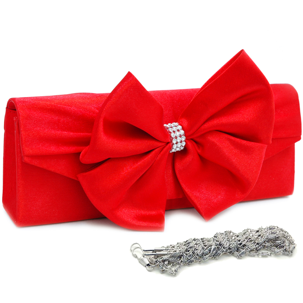 Large Bow Tie Evening Bag with Rhinestone Knot