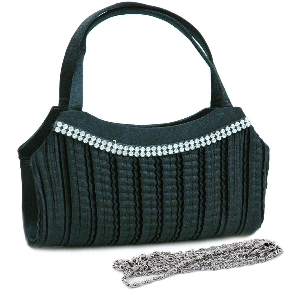 Satchel-Like Pleated Evening Bag with Rhinestone Trim