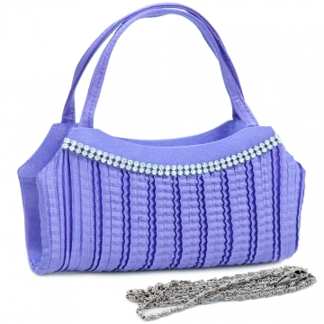 Rhinestone accented pleated front clutch