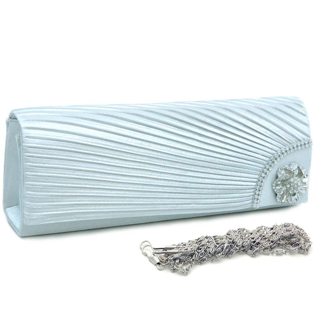 Pleated Evening Bag with Corner Rhinestone Jewel