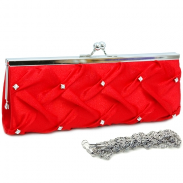 Kiss lock pleated front clutch w/ rhinestone