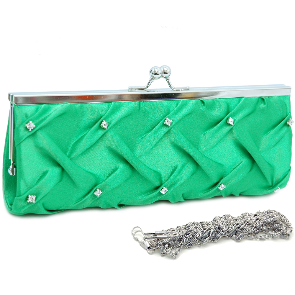 Framed Top Pleated Evening Bag with Rhinestone Studs