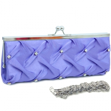 Kiss lock pleated front clutch w/ rhinestone Purple