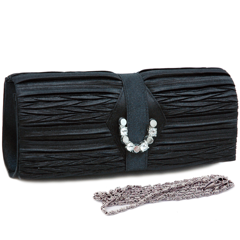 Pleated Front Evening Bag with Horseshoe Rhinestone Jewel