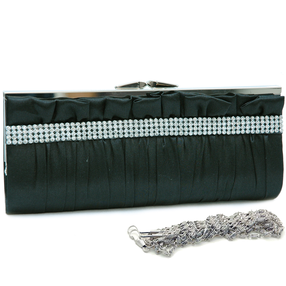 Pleated Rhinestone Evening Bag with Push Lock Closure