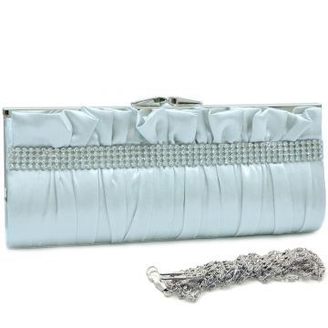 Dasein Push Lock Pleated Front Clutch with Rhinestone-Silver