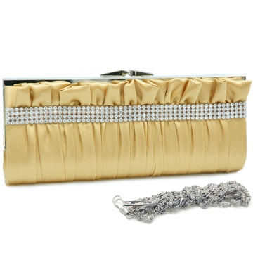 Dasein Push Lock Pleated Front Clutch with Rhinestone-Gold