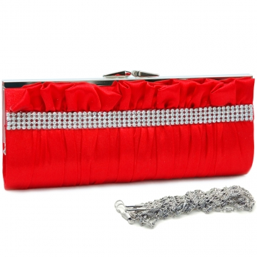 Dasein Push Lock Pleated Front Clutch with Rhinestone-Red