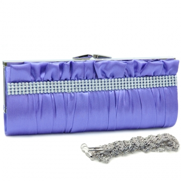 Dasein Push Lock Pleated Front Clutch with Rhinestone-Purple