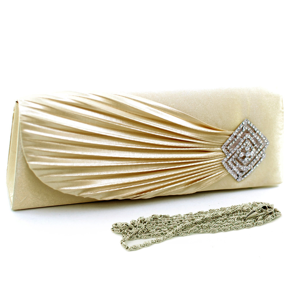 Pleated Accent Evening Bag with Rhinestone Jewel