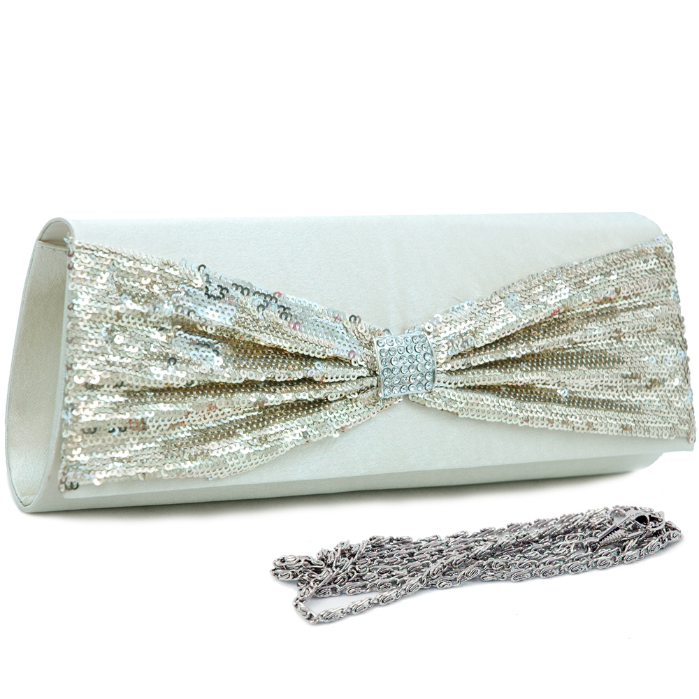 Sequined Bow Tie Evening Bag
