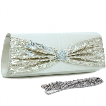 Sequins flap over front clutch with rhinestone