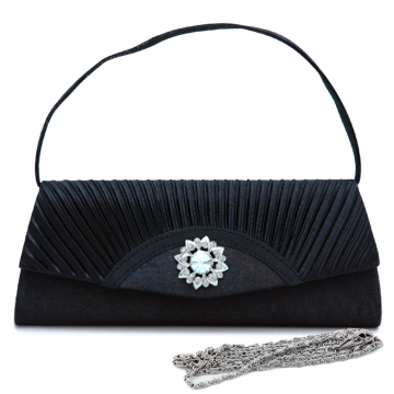 Dasein Pleated Fap Over Clutch / Purse with Rhinestone Flower Accent-Black