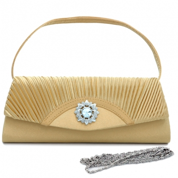 Dasein Pleated Fap Over Clutch / Purse with Rhinestone Flower Accent-Gold