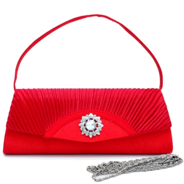 Dasein Pleated Fap Over Clutch / Purse with Rhinestone Flower Accent-Red