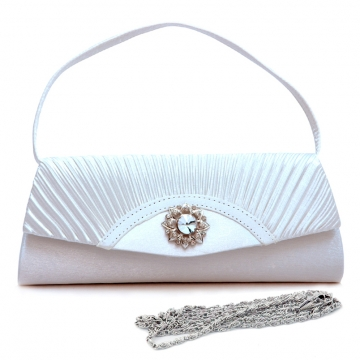 Dasein Pleated Fap Over Clutch / Purse with Rhinestone Flower Accent-White