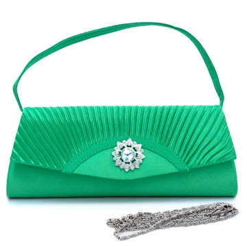 Dasein Pleated Fap Over Clutch / Purse with Rhinestone Flower Accent-Green