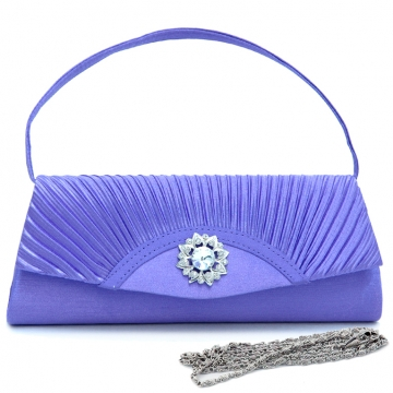 Dasein Pleated Fap Over Clutch / Purse with Rhinestone Flower Accent-Purple