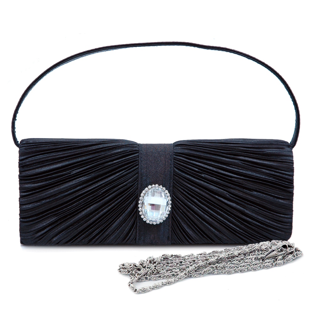 Pleated Front Rhinestone Crystal Evening Bag