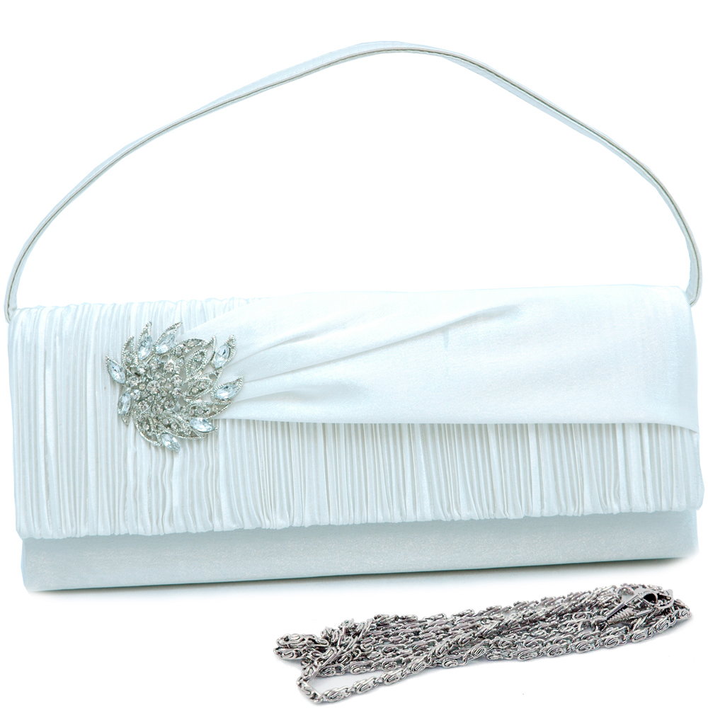 Rhinestone Jewel Evening Bag with Partially Pleated Body
