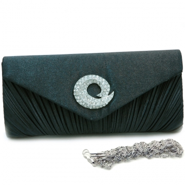 Pleated flap over front clutch evening purse with rhinestone ornoment