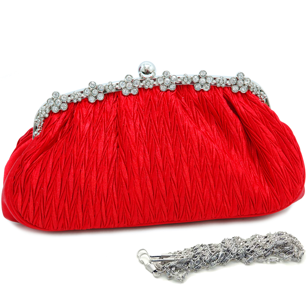 Rhinestone Rimmed Pleated Evening Bag