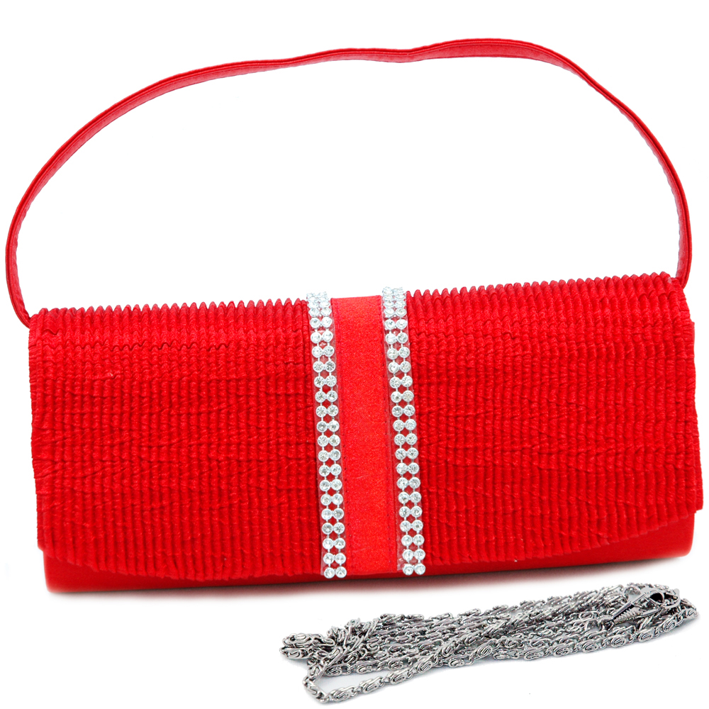 Densely Pleated Evening Bag with Rhinestone Trim